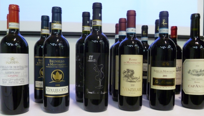 Lineup of wines shown at the Montalcino Masterclass